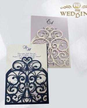 Сватбена покана от рязана дантела