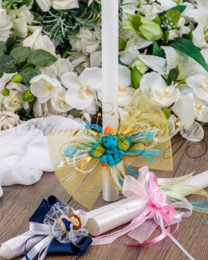Свещ за кръщене с индивидуална украса