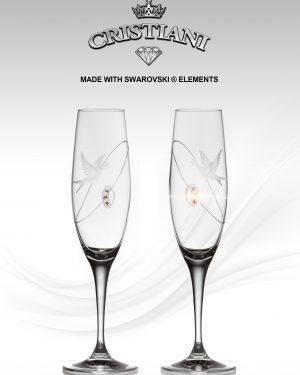 Кристални чаши CRISTIANI гълъби