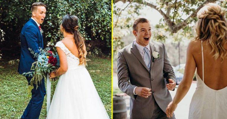 Младоженци, които не могат да скрият емоциите си при вида на булката