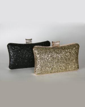 Официална дамска чанта с камъни и брокат