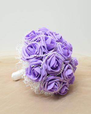 Булчински букет с перли и рози