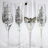 Кристални чаши с камъчета и перли