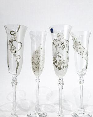 Кристални чаши със сребърна декорация