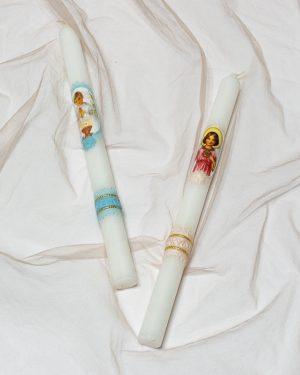 Ритуална свещ за кръщене с ангелче