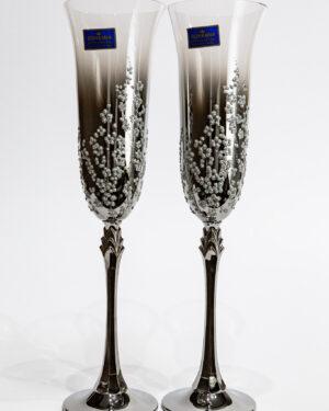 Кристални чаши със сребърна орнаментика