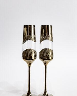 Стъклени сватбени чаши със златен обков