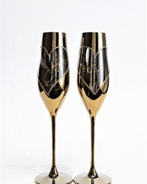 Кристални сватбени чаши Мr&Mrs
