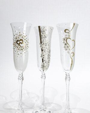 Кристални чаши със златен декор