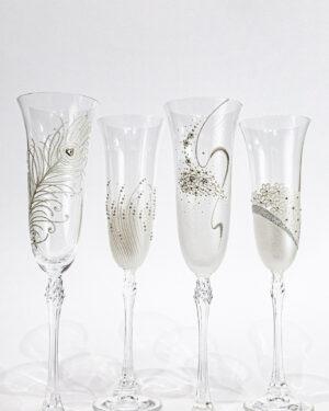 Кристални чаши със сребърен декор