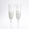 Кристални сватбени чаши с релефна декорация