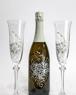 Кристални сватбени чаши декор